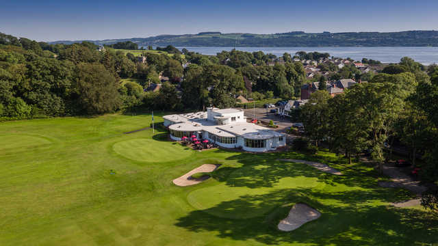 Aerial view of the 18th hole and clubhouse at Cardross Golf Club.