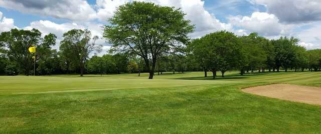 A view of the 17th green at Bristol Oaks Golf Club and Banquet Center.