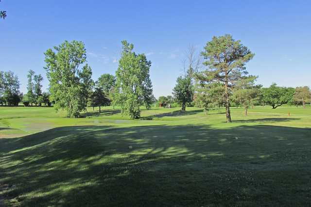 A view of a tee at Burning Tree Golf Course.