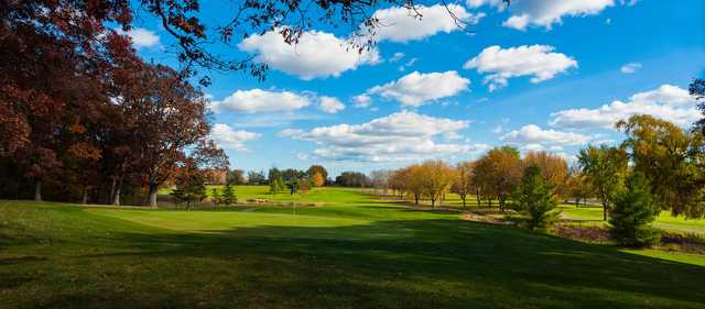 A fall day view of a hole at Muskego Lakes Country Club.