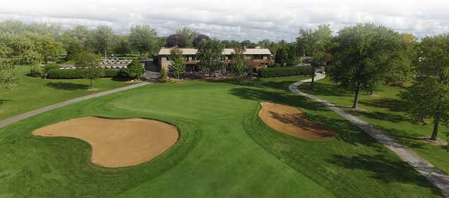 A view of a well protected green at Muskego Lakes Country Club.
