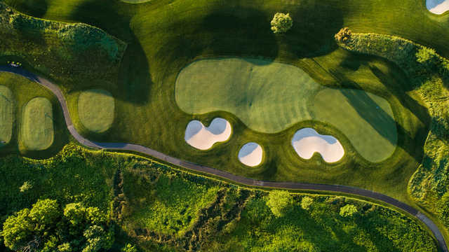 Aerial view of the 17th green at Heron Glen Golf Course.