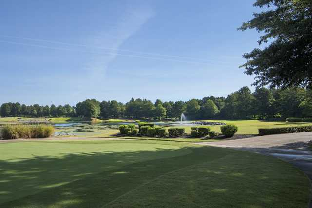 A sunny day view of a hole at The Links at Lowell Golf & Athletic Club.