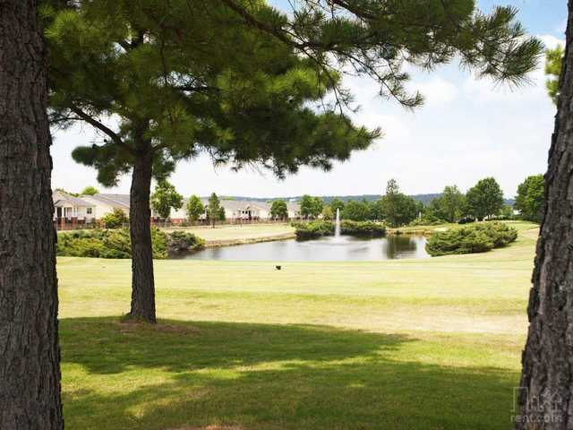 A view of a tee at The Links at Fort Smith Golf & Athletic Club.