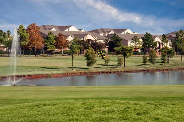 A view of a green with water coming into play from The Links at Oklahoma City Golf & Athletic Club.