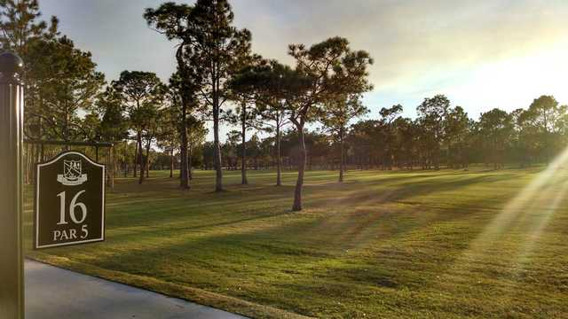 A view from tee #16 sign at Rio Pinar Country Club.