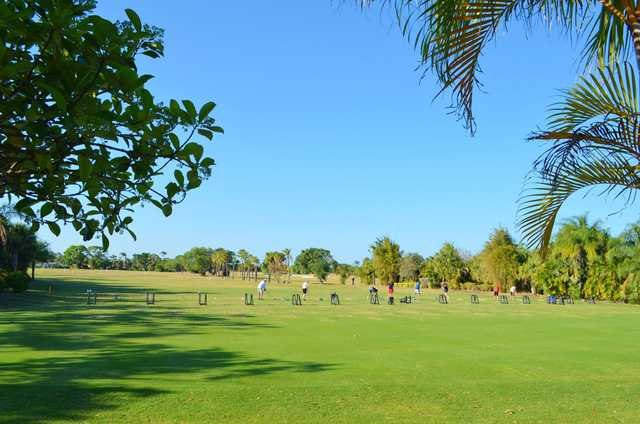 A view of the driving range at Club Med Sandpiper Bay.