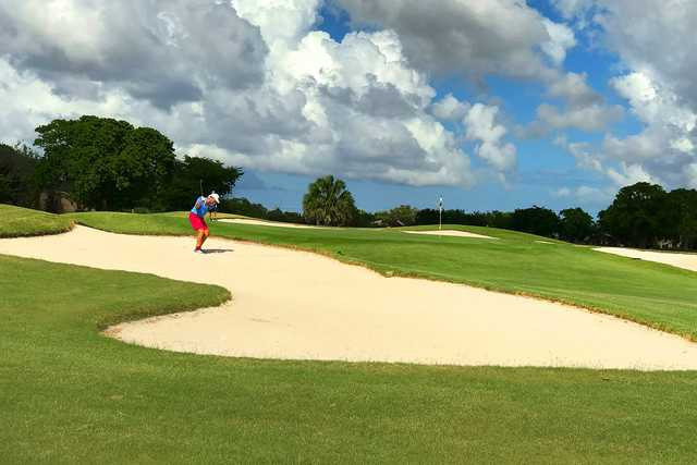 A view of a green surrounded by bunkers at Miccosukee Golf & Country Club.