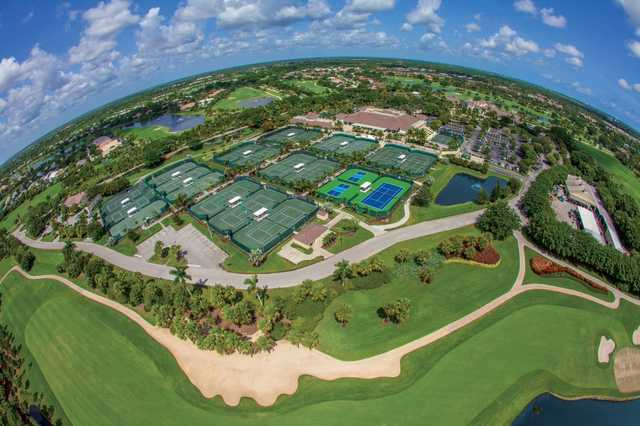 Aerial view of the tennis complex at BallenIsles Country Club.