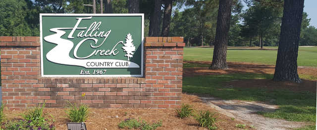 A view of the entrance sign at Falling Creek Country Club.