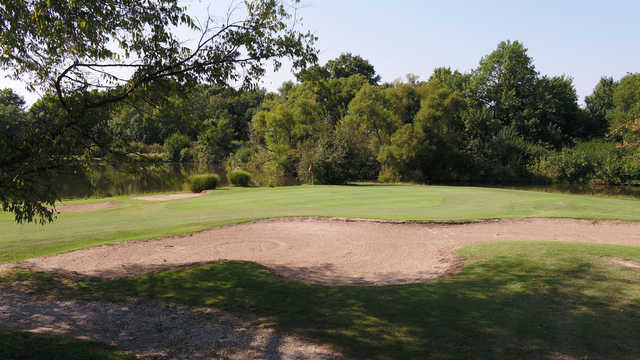 A sunny day view of a hole at Carlyle Lake Golf Club.