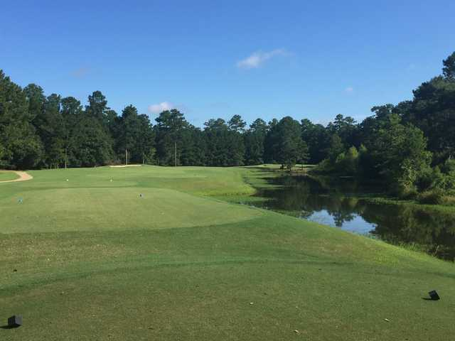 A view from a tee at River Pointe Golf Club.