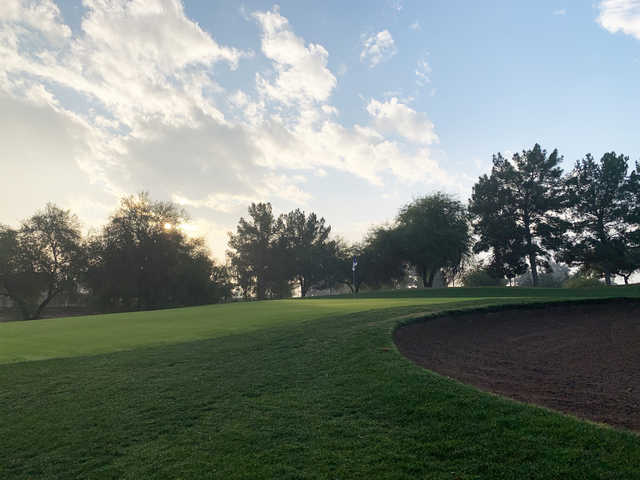 Sunrise view of the 9th green at Springfield Golf Resort.