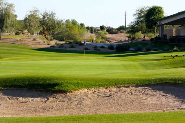 A sunny day view of a hole at Bear Creek Golf Complex.