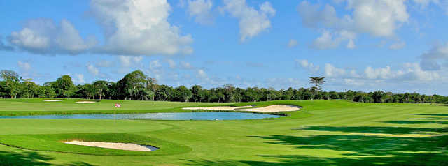 A view of a green with water coming into play at Cozumel Country Club.