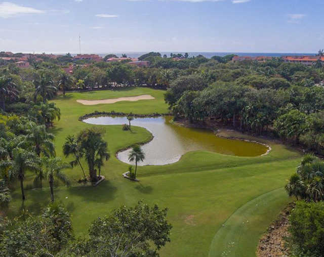 Aerial view of the 9th hole at Puerto Aventuras Golf & Racquet Club.