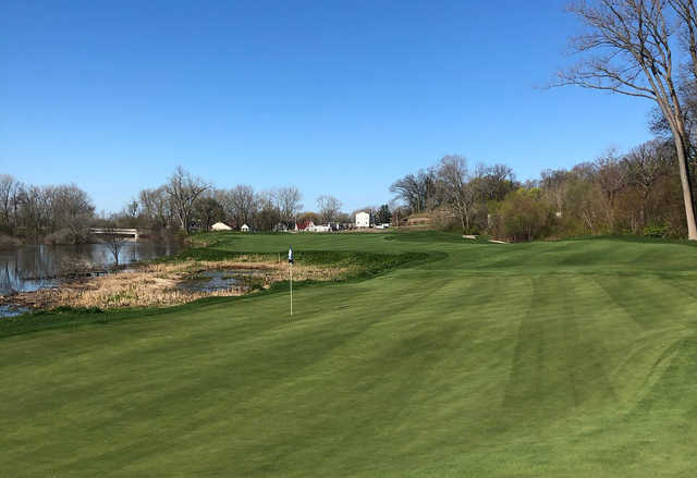 A sunny day view of a hole at Harbor Shores.
