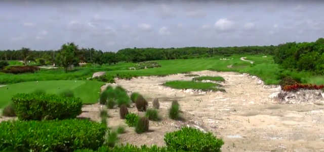 A view of a tee from Hard Rock Golf Club at Cana Bay.