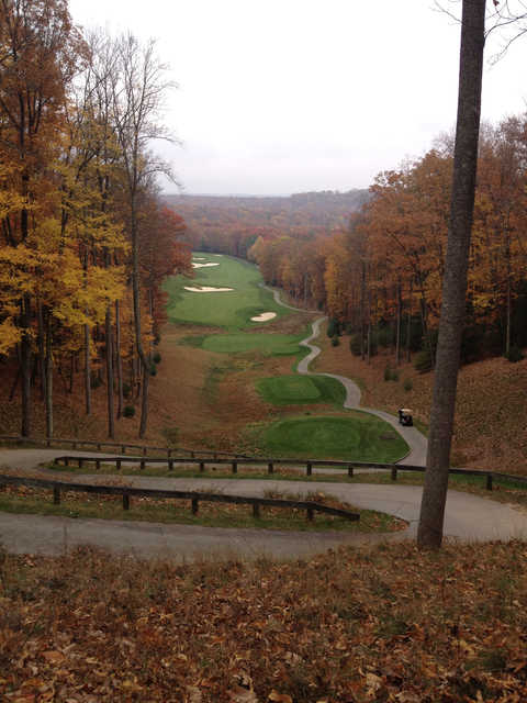 A beutiful autumn view of the 16th tee zone and fairway from the Stonehaven course at Glade Springs Village.