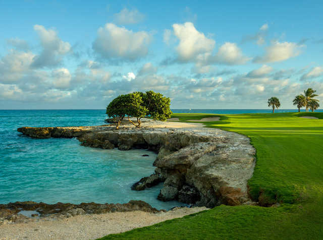 A view of a hole surrounded by water at Cap Cana - Punta Espada.