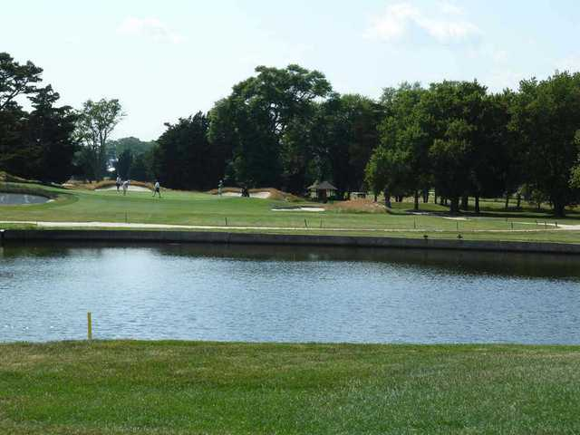 The seventh hole on the Bay golf course at Seaview resort is the only water carry on this layout.