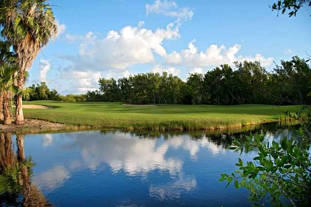 A view over the water of a hole at Riviera Cancun Golf & Resorts.
