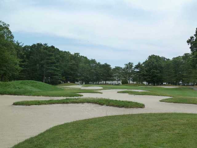 The 15th hole on the Pines Course at Seaview resort has plenty of bunkers.