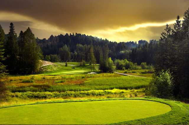 A sunset view of a hole at Idaho Club.