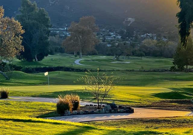 A view of a hole at Carlton Oaks Golf Club.