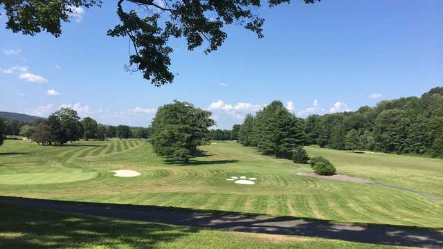 A sunny day view from The Lynx at River Bend Golf Club.