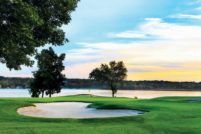 View of the 16th hole from the Palmer course at Geneva National Golf Club.
