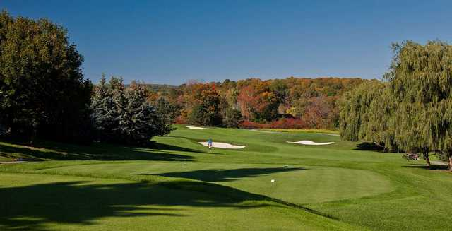 A fall day view from a tee at 18-hole Championship from Cherry Downs Golf and Country Club.