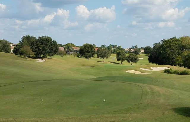 A view of a tee at Lake Jovita Golf & Country Club.
