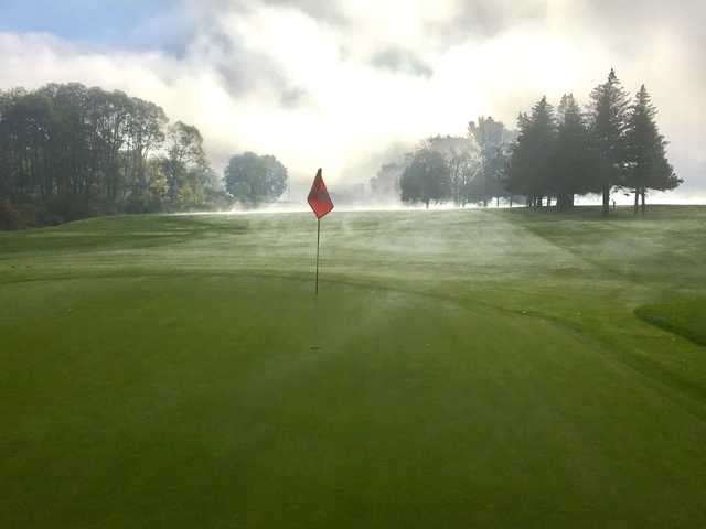 A view of a green at Seven Oaks Golf Club.