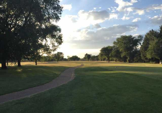A view of a tee at Colonial Park Golf Course.