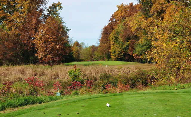 A fall day view from a tee at Amherst Country Club.