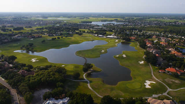 Aerial view of the 18th hole at Fox Hollow Golf Club.