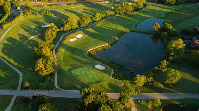 Aerial view of the 1st green at Ooltewah Club.