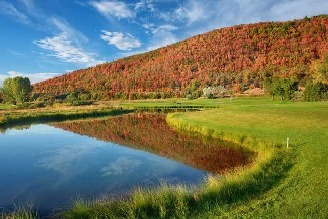 A view of the 6th hole from Lake at Wasatch Mountain State Park.