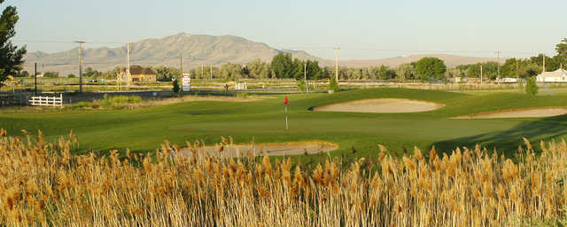 A view of a well protected green at Glen Eagle Golf Club.