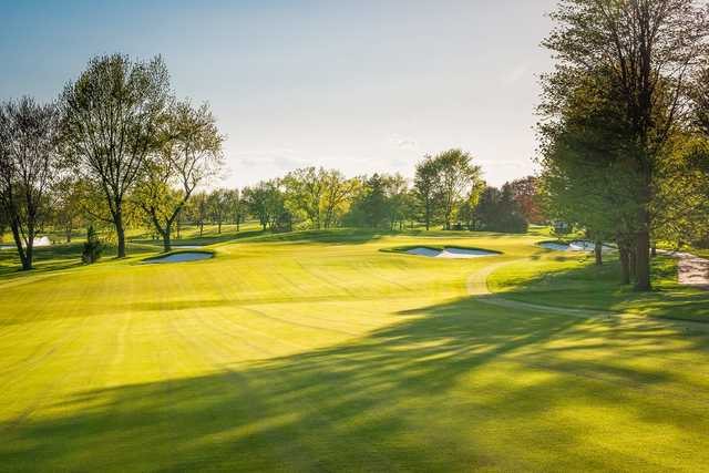 A view of green #3 at Baer Course from Schaumburg Golf Club.