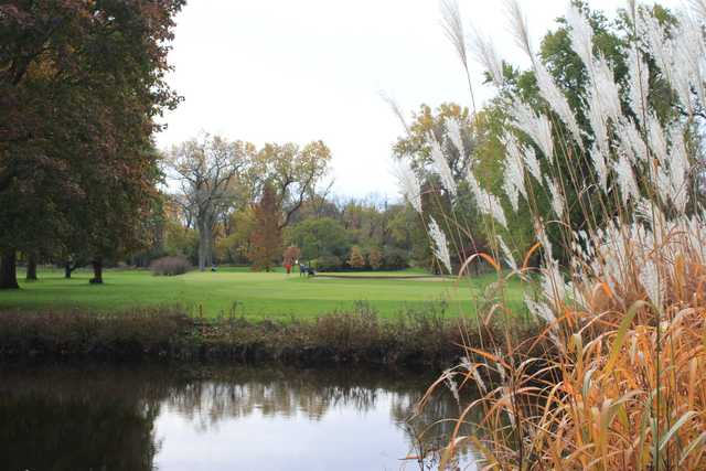 A fall day view of a hole at Winnetka Golf Club.