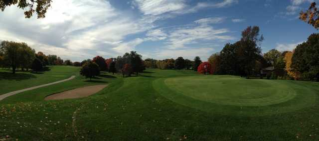 A fall day view of a hole at Harrison Hills Golf & Country Club.