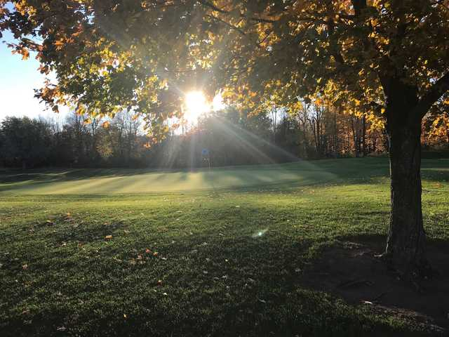 A fall morning view of a hole at Crystal Woods Golf Club.