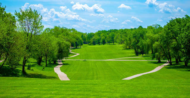A view of a fairway from South at Hickory Hills Country Club.