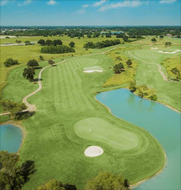 Aerial view of the 2nd green at Clear Creek Golf Course.