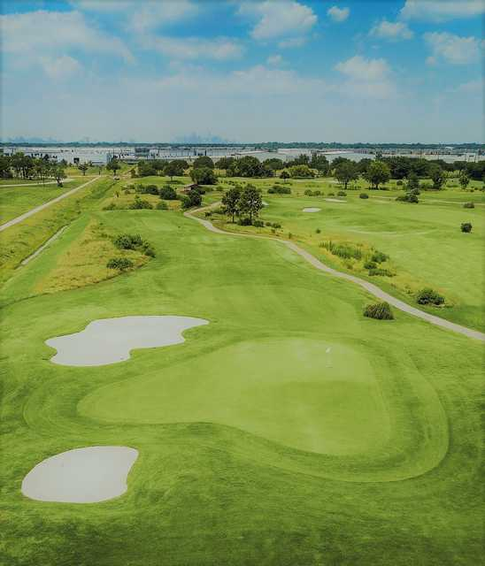 Aerial view of the 14th green at Clear Creek Golf Course.