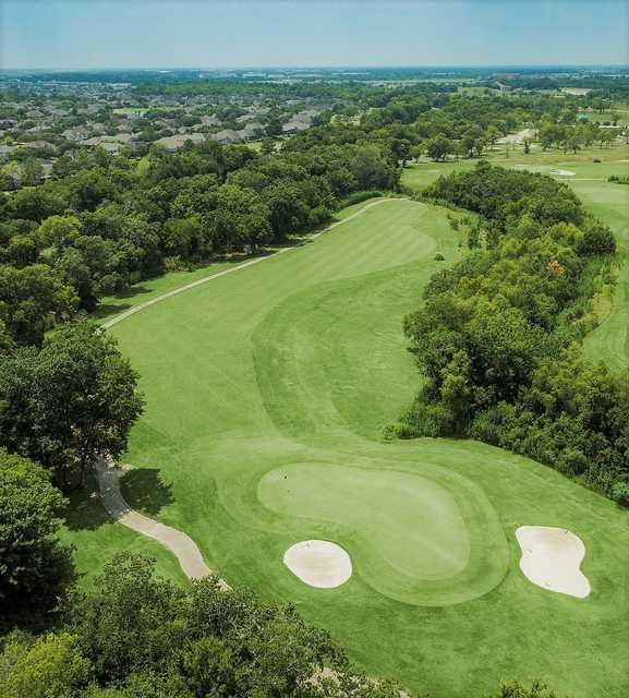 Aerial view of the 16th green at Clear Creek Golf Course.