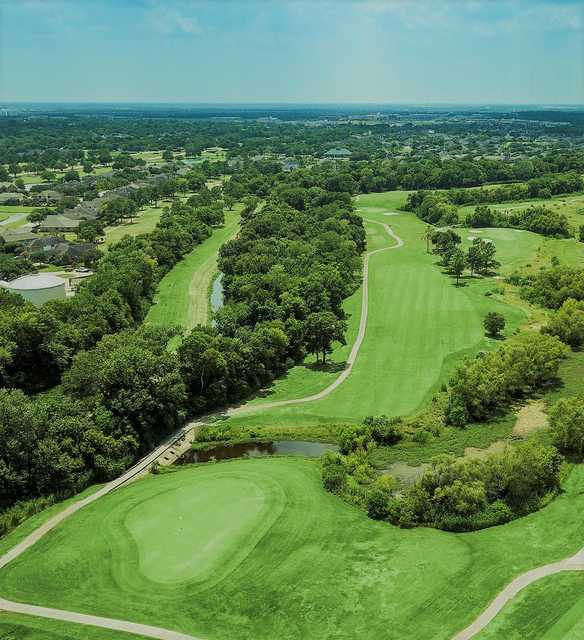Aerial view of the 17th green at Clear Creek Golf Course.