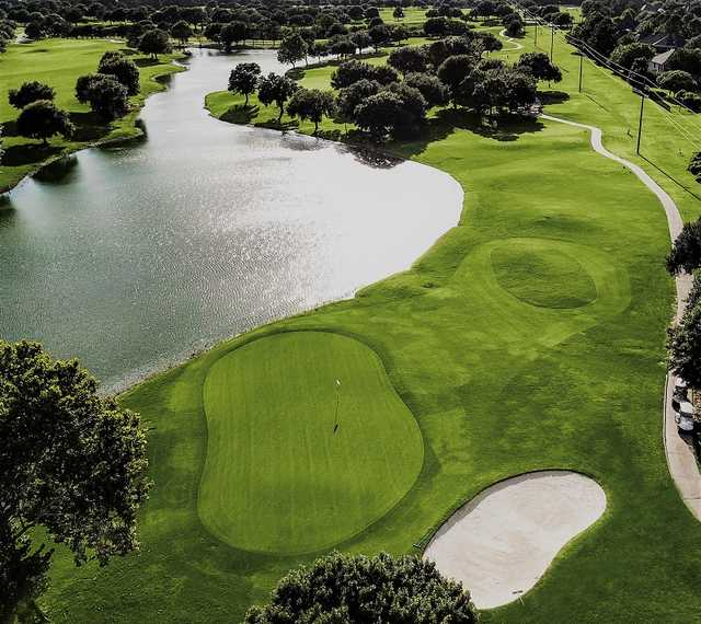Aerial view of the 3rd green at Golf Club at Cinco Ranch.